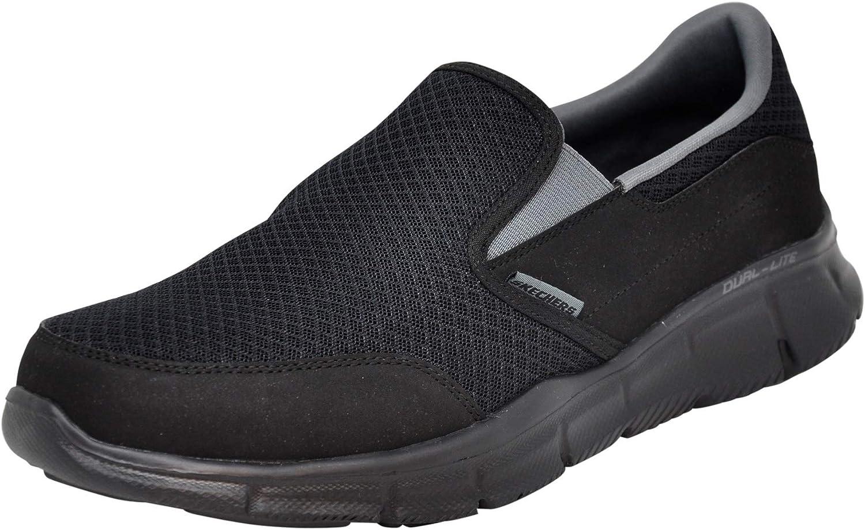 Skechers Equalizer Persistent - Zapatillas sin cordones para hombre, Negro (Negro/Carbón), 43.5 EU