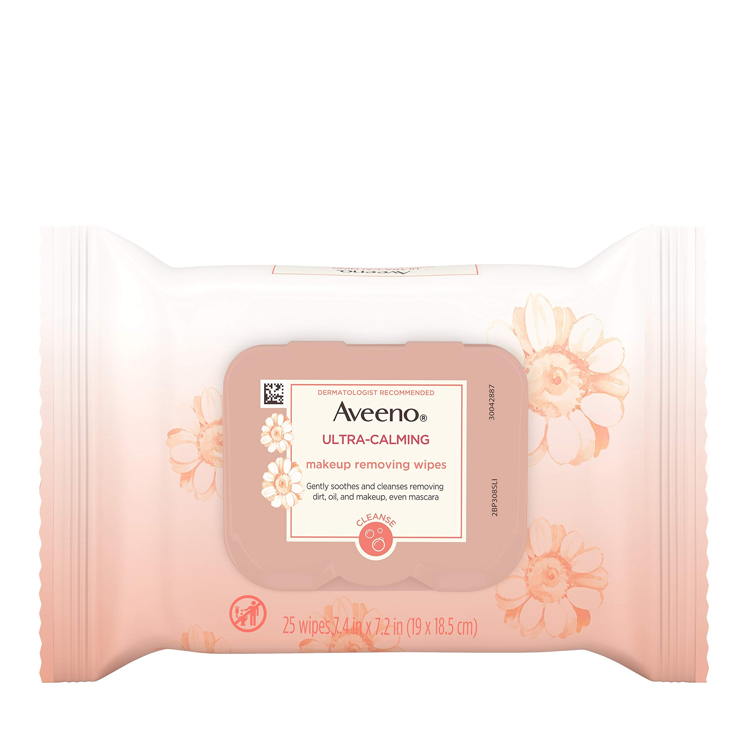 Aveeno Ultra-Calming Makeup Removing Facial Cleansing Wipes with Feverfew Extract, Oil-Free Soothing Face Wipes for Sensitive Skin, Gentle & Non-Comedogenic, 25 Count