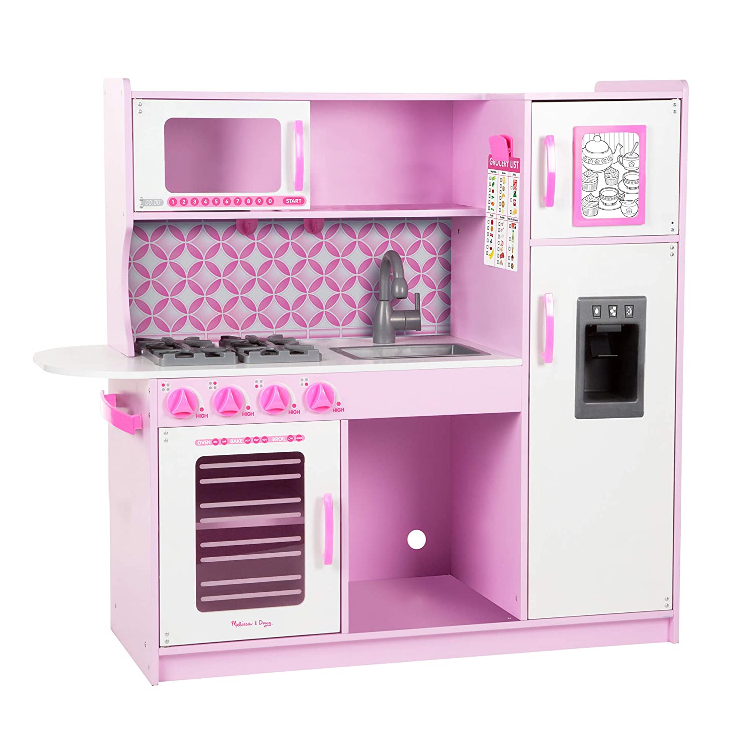 Melissa s kitchen pretend play set cupcake easy to assemble durable wooden construction multiple working parts 39 h x 43 25 w x 15 5 l