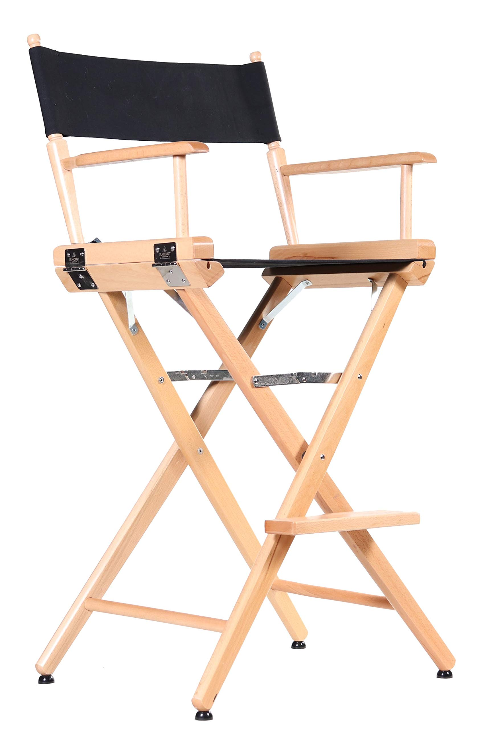 Professional Grade Studio Director's Chairs (30'' bar Height, Natural Finish, Black Canvas) by Filmcraft