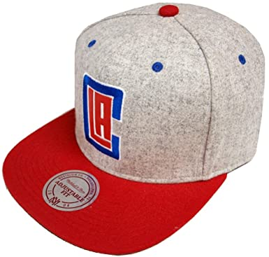 super popular 5eb8c 88580 Image Unavailable. Image not available for. Color  Mitchell   Ness Los  Angeles Clippers Melange Flannel EU912 Snapback Cap Basecap