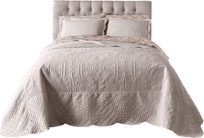 BrylaneHome Lily Damask Embossed Bedspread - King, Khaki