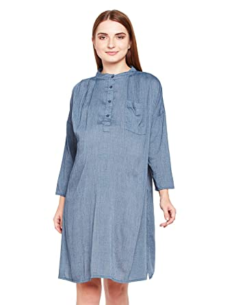 9817ae61f9e66 oxolloxo Women Round Neck Blue Maternity A-Line Dress (3/4th Sleeves):  Amazon.in: Clothing & Accessories
