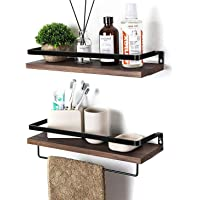 Rustic Floating Wall Shelves with Rails, 2 Sets Wood Wall Storage Shelves for Kitchen, Bedroom, Bathroom, Office, Perfect Home Decorative Storage with Detachable Towel Rack (Matte Black)