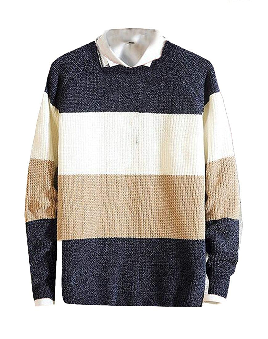 Cromoncent Mens Casual Pullover Knits Round Neck Color Block Jumper Sweaters