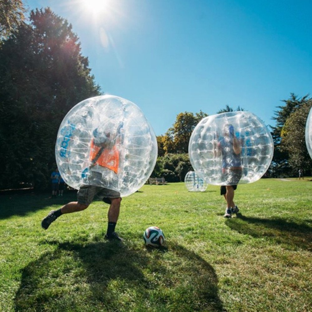 MAARYEE Bumper Ball Human Knocker Bubble Soccer Football 0.8mm PVC Dia 5' (1.5m) for Parties Schools Activities Transparent Clear 1 per Box Transparent Material For Adults and Kids(2 Pcs)