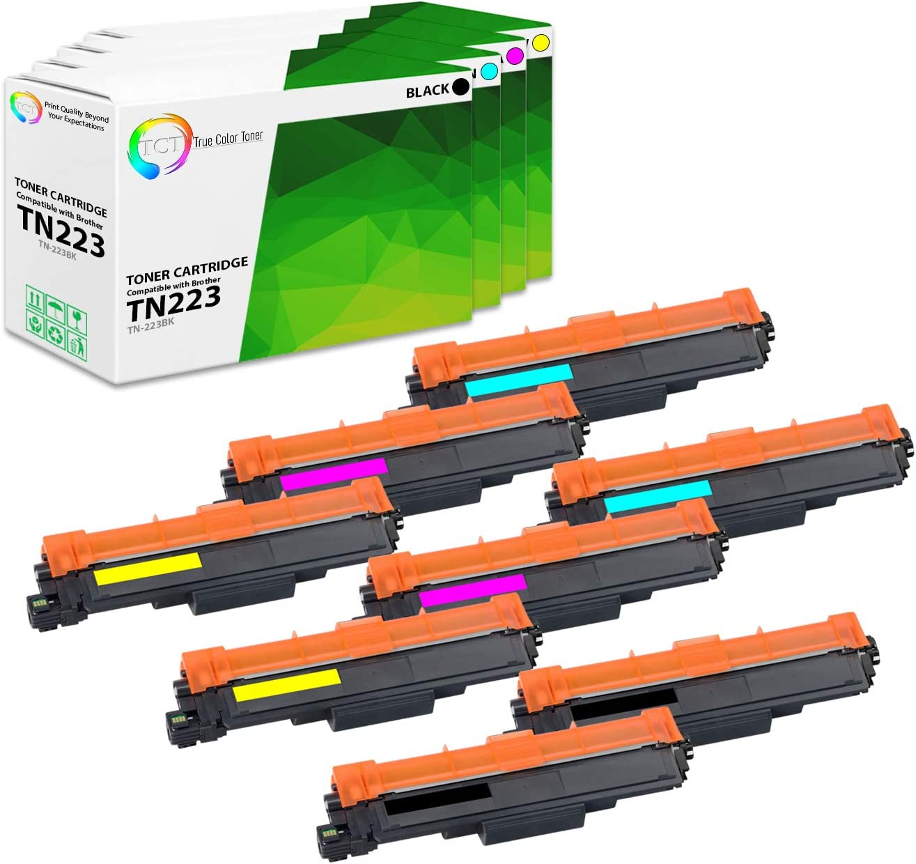 DCP-L3510CDW Printers MFC-L3710CW L3750CDW B, C, M, Y - 8 Pack TCT Premium Compatible Toner Cartridge Replacement with Chip for Brother TN223 TN-223 works with Brother HL-L3210CW L3230CDW L3270CDW