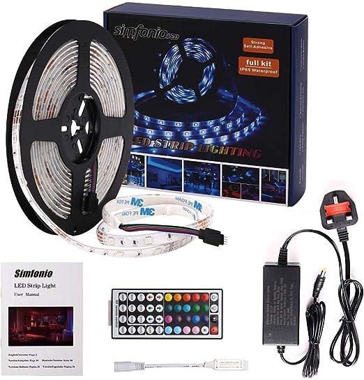 44/Botones mando a distancia y alimentador 5/m tira LED impermeable IP65 RGB SMD 5050/300/LED 12/V Receptor y Conectores