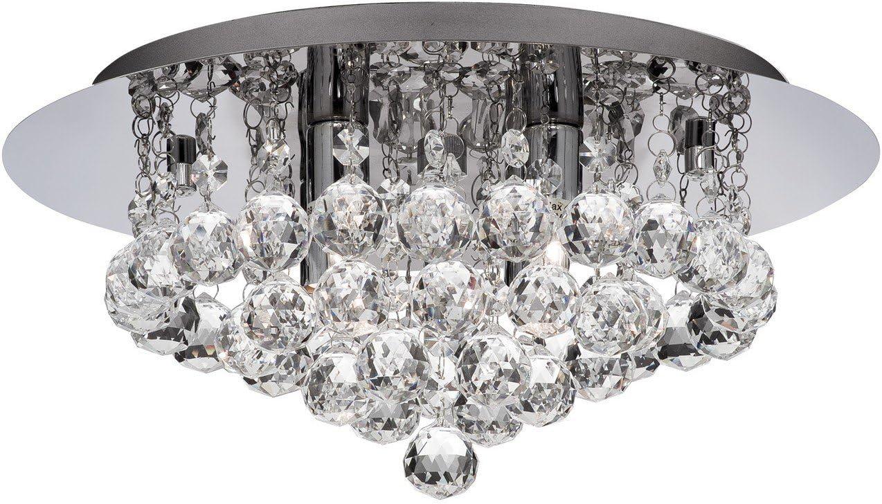 Searchlight 4404 4cc Led Hanna Led Semi Flush Ceiling Light Crystal Chrome Ip44 Bathroom Light Amazon Co Uk Lighting