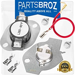 279816 Dryer Thermal Cut-Off Kit by PartsBroz - Compatible with Electric Whirlpool Dryers - Replaces 2651, 279816VP, 3399848 & 3977393