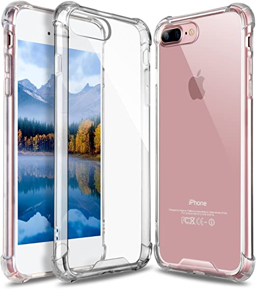 Clear Free Clear Anti-Scratch Screen Protector Tempered Glass Kit Bundle for iPhone 8 Plus 5.5 inch Crystal Clear Shock Absorption Soft TPU Bumper Case GLASS-M iPhone 8 Plus 7 Plus Case