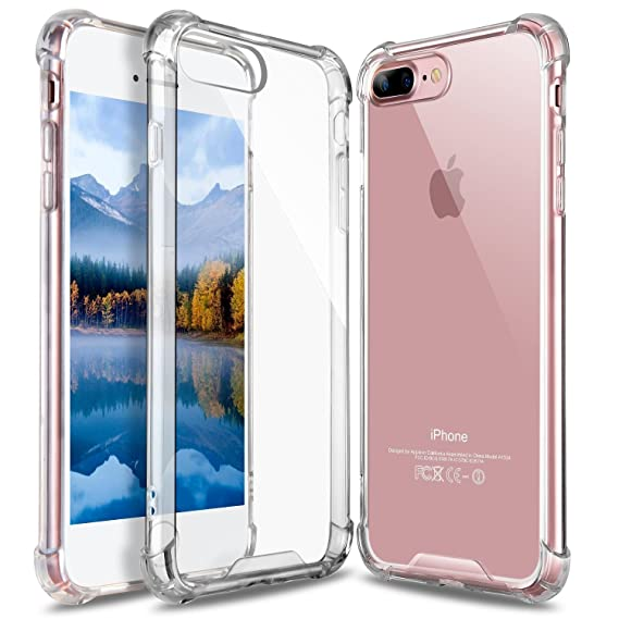 new product c9803 26b92 GeekZone iPhone 8 Plus Case, iPhone 7 Plus Case, Crystal Clear Case Hard  Back Panel TPU Bumper Drop Protection Shock Absorption Technology Case for  ...