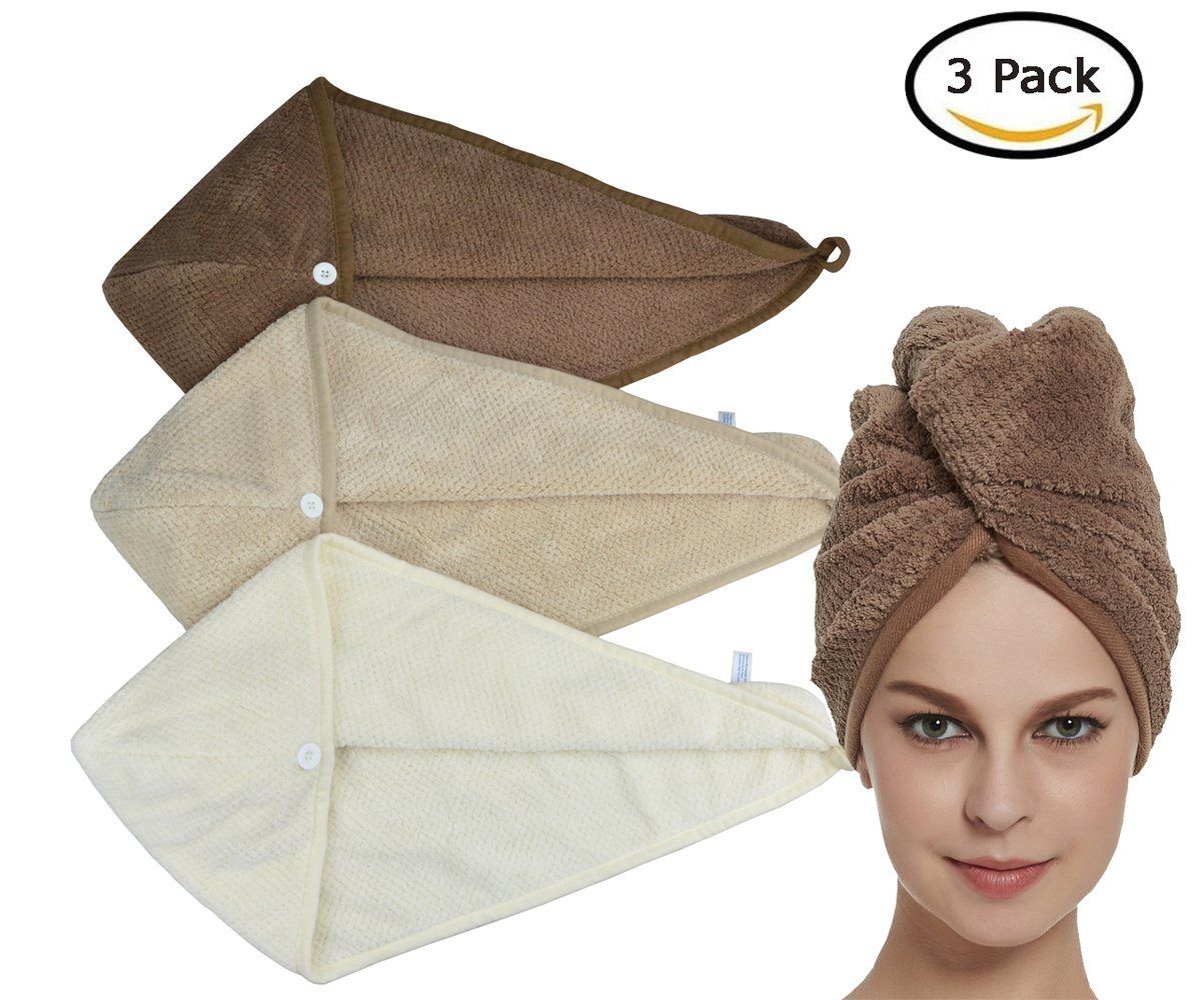 HOPESHINE Women's Soft Shower Hair Drying Towels Twist Hair Turban Wrap Drying Cap Great Gift for Women (3-Pack,Brown+Khaki+Off White) by HOPESHINE