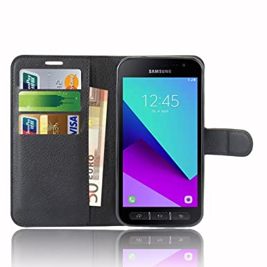 pretty nice 89c1b e7c52 Samsung Galaxy Xcover 4 Case , Anzhao Premium PU Leather Wallet Flip Cover  Case With KickStand and Card Slots for Samsung Galaxy Xcover 4 (Black)
