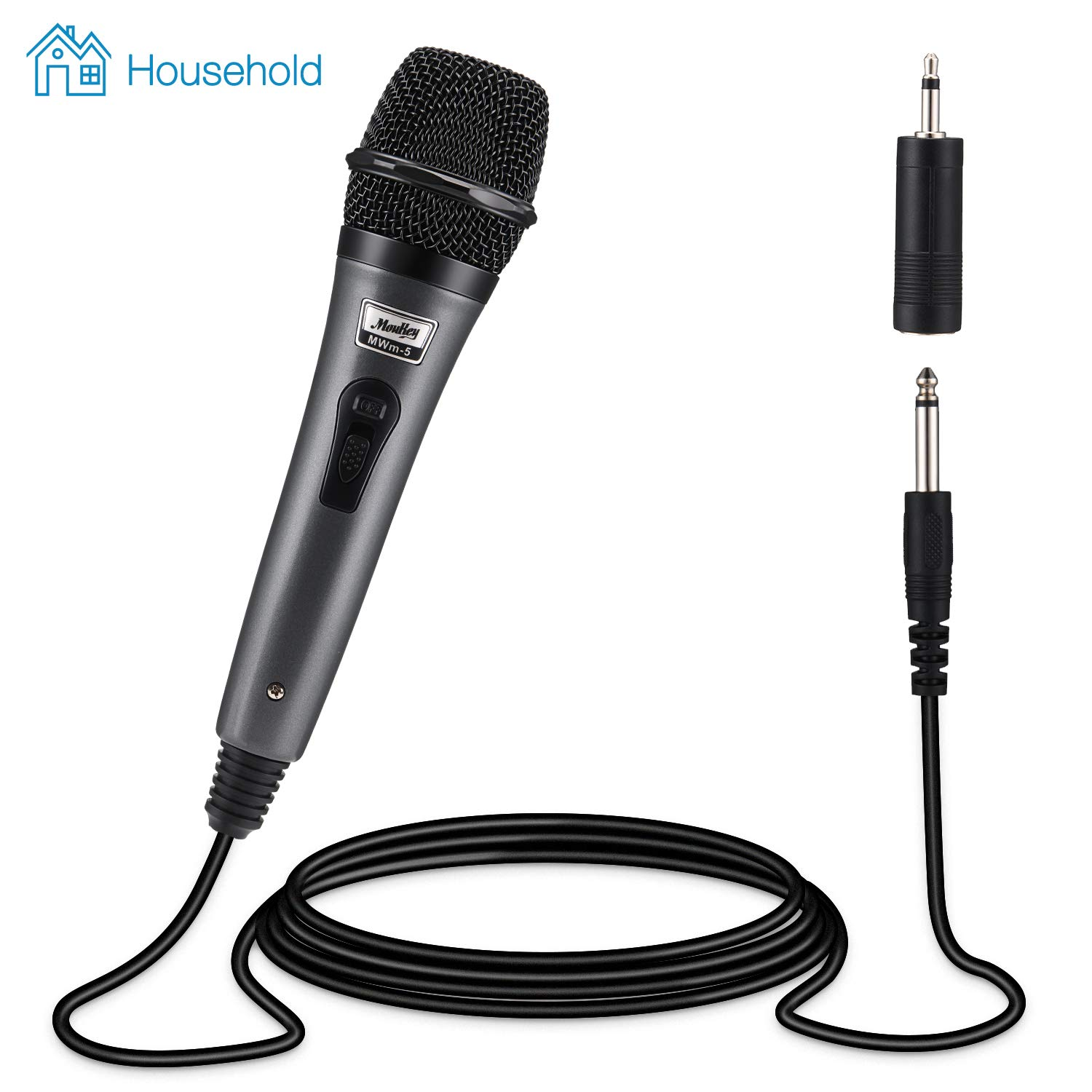 Moukey Dynamic Cardioid Home Karaoke Microphone, 13 ft XLR Cable Metal Handheld Wired Mic Corded for Singing/PA Speaker/Amp/Mixer/Karaoke Machine & Speech/Wedding/Stage (MWm-5) by Moukey