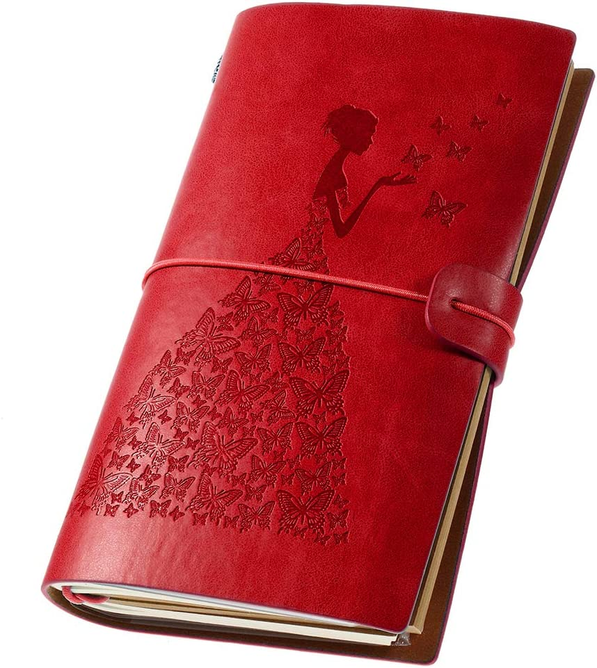Leather Journal, Vintage Refillable Travelers Notebook Writing Journal for Women with Line Paper+ 1 PVC Zipper Pocket +18 Card Holder 4.7 X 7.9in (Red)