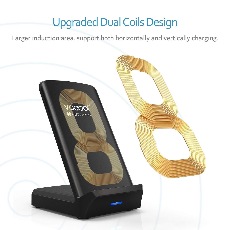 Wireless Charger, 10W Qi Ladestation mit Lüfter Kabelloses Leistungsstarkes Induktives Ladegerät kompatibel zu Samsung S9/S8/S8+/S7/S6/Edge/Plus/Note, iPhone 8/iPhone 8 Plus/iPhone X, Nexus, HTC, LG usw.