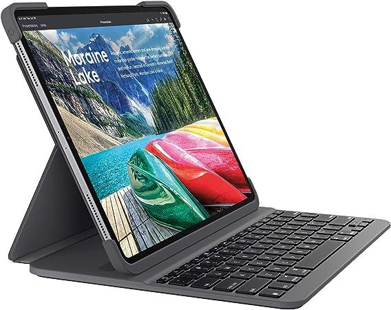 Logitech Slim Folio Pro Funda para iPad con Teclado Inalámbrico Bluetooth, iPad Pro 12,9 Pulgadas 3.ª Gen Modelos: A1876, A1895, A1983, A2014, Teclas ...