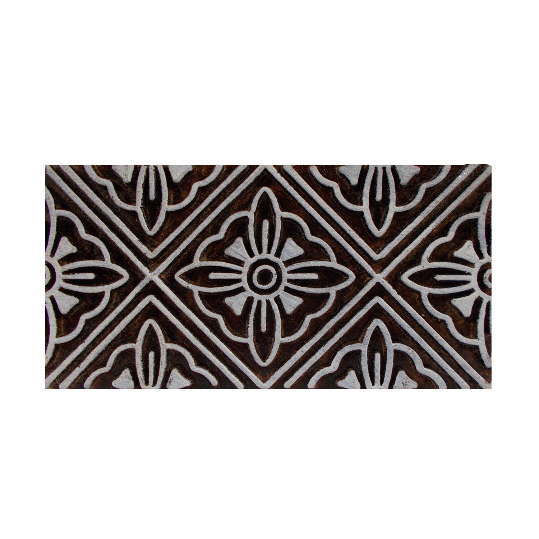 Floral Border Indian Printing Blocks Wooden Motif Stamps Textile Clay Pottery Craft Scrapbook Print Henna Tattoo Block TeT
