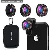 nelomo Universal profesional HD Kit de lente de cámara para iPhone X/8/7Plus/7/6splus/6s, Samsung S8+/S8y otros teléfonos móviles (230° objetivo Super gran angular de lente de ojo de pez, 0,65x, 15x Super Macro lente)