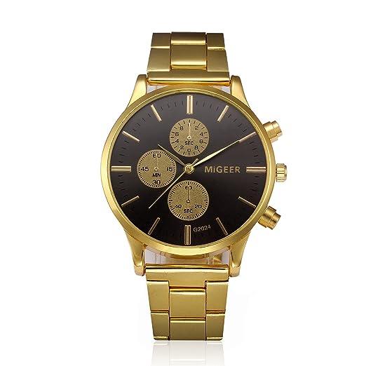 weant Reloj Oro Sport Reloj para Hombre y Mujer Watch Fit Reloj de Pulsera Militar Analógico de Cuarzo Reloj de Pulsera Lujo Inoxidable A: Amazon.es: ...