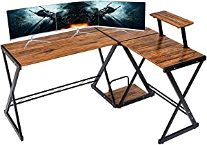 """GreenForest L Shaped Desk 64""""x50"""" Large Size with Moveable Shelf, Gaming Computer Corner Desk Studio Table Pc Workstation for Home Office Writing Table with CPU Stand, Walnut"""