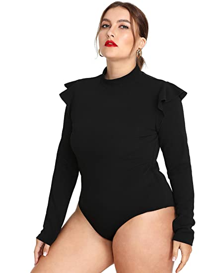 7814b40ab243 SweatyRocks Women's Plus Size Mock Neck Ruffle Frill Shoulder Long Sleeve  Bodysuit Jumpsuit Black 2XL