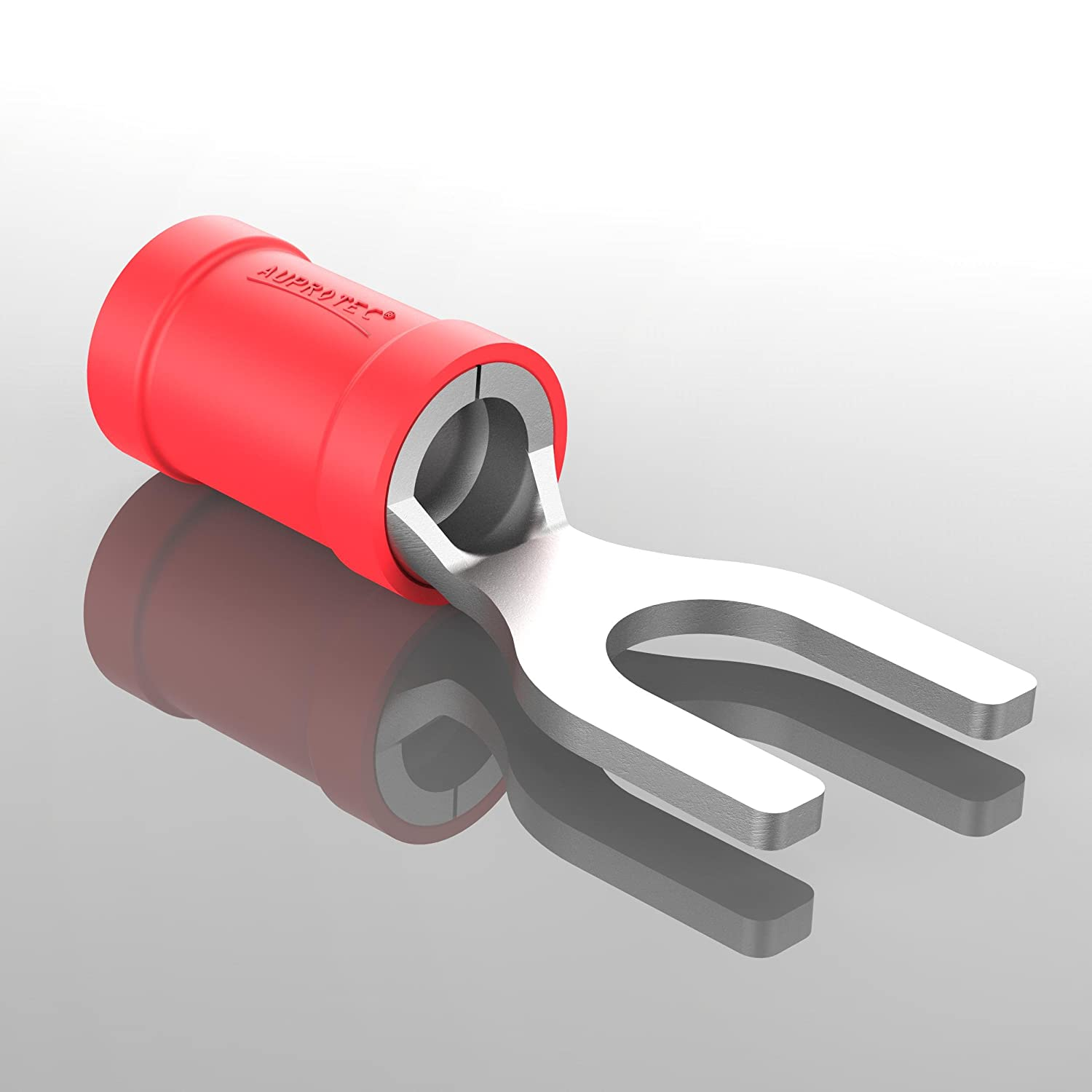 AUPROTEC 100x Fork Connectors 0.5-1.5 mm/² red AWG 22-16 hole-/Ø M4 SV PVC semi-insulated Electrical Crimp Connector tinned copper Spade Terminals