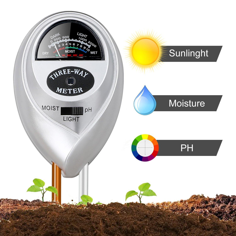 Jellas Soil Moisture Meter - 3 In 1 Soil Tester Plant Moisture Sensor Meter/Light/pH Tester for Home, Garden, Lawn, Farm Promote Plants Healthy Growth - Silver