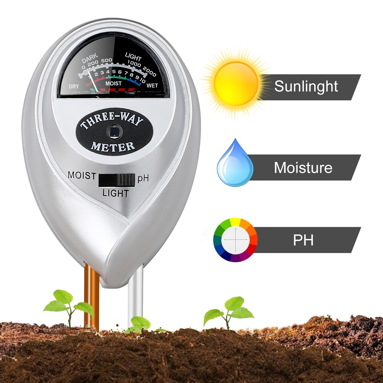 Jellas Soil Moisture Meter - 3 In 1 Soil Tester Plant Moisture Sensor Meter/Light/pH Tester for Home, Garden, Lawn, Farm Promote Plants Healthy Growth - Silver by Jellas (Image #1)
