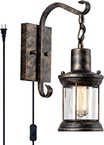 Vintage Wall Light Oil Rubbed Vintage Wall Light Modern Black, Glass Shade Industrial Wall Sconce Plug in Lighting Fixture with 6.6FT Cord for Indoor Home Décor Headboard Rustic (Bronze-Plug in)