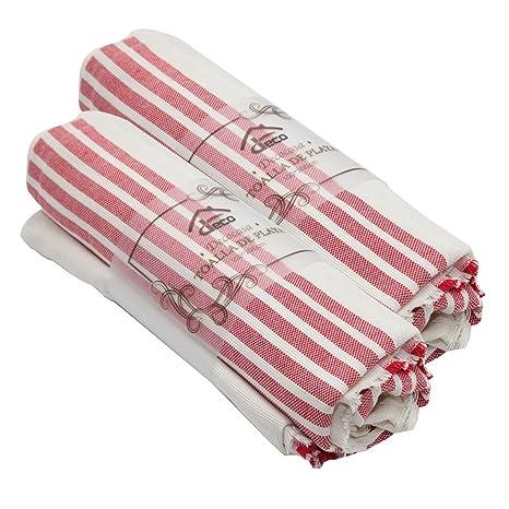 Decocasa Pack 2 Toallas Doble FAZ para Playa Piscina Pareo 100% Algodón –Rojo (