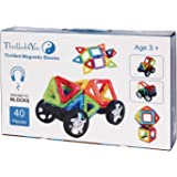 Thrilled4You Magnetic Building Set- Top 40-Piece Toddler Magnetic Blocks - Assorted Squares & Triangles In Storage Box To Enhance Preschool Creative Thinking & Mathematical Skills – Excellent Gift