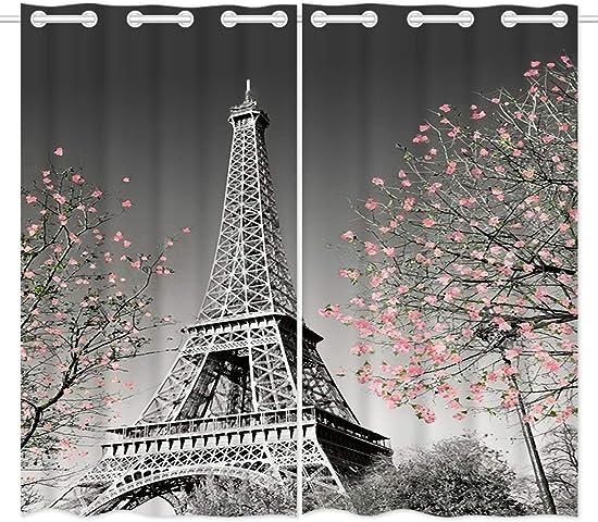 HommomH 42 x 84 inch Curtains 2 Panel Grommet Top Darkening Blackout Room Paris Eiffel Tower Blossoms