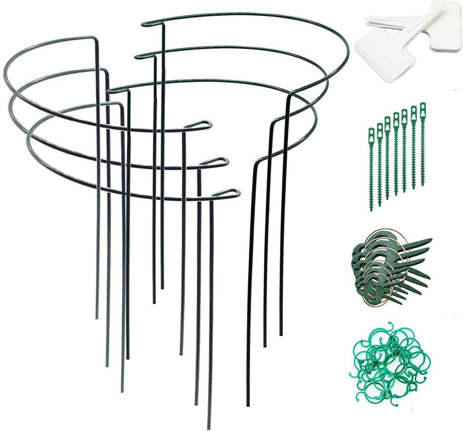 FARAER Plant Support Stakes, 6Pack Versatile Half-Round Plant Supports Prevent Flopping Flowers, Linking Stakes Garden Border Supports Plant Cages with Plant Labels Plant Clips Wrap Ties Twist Clips