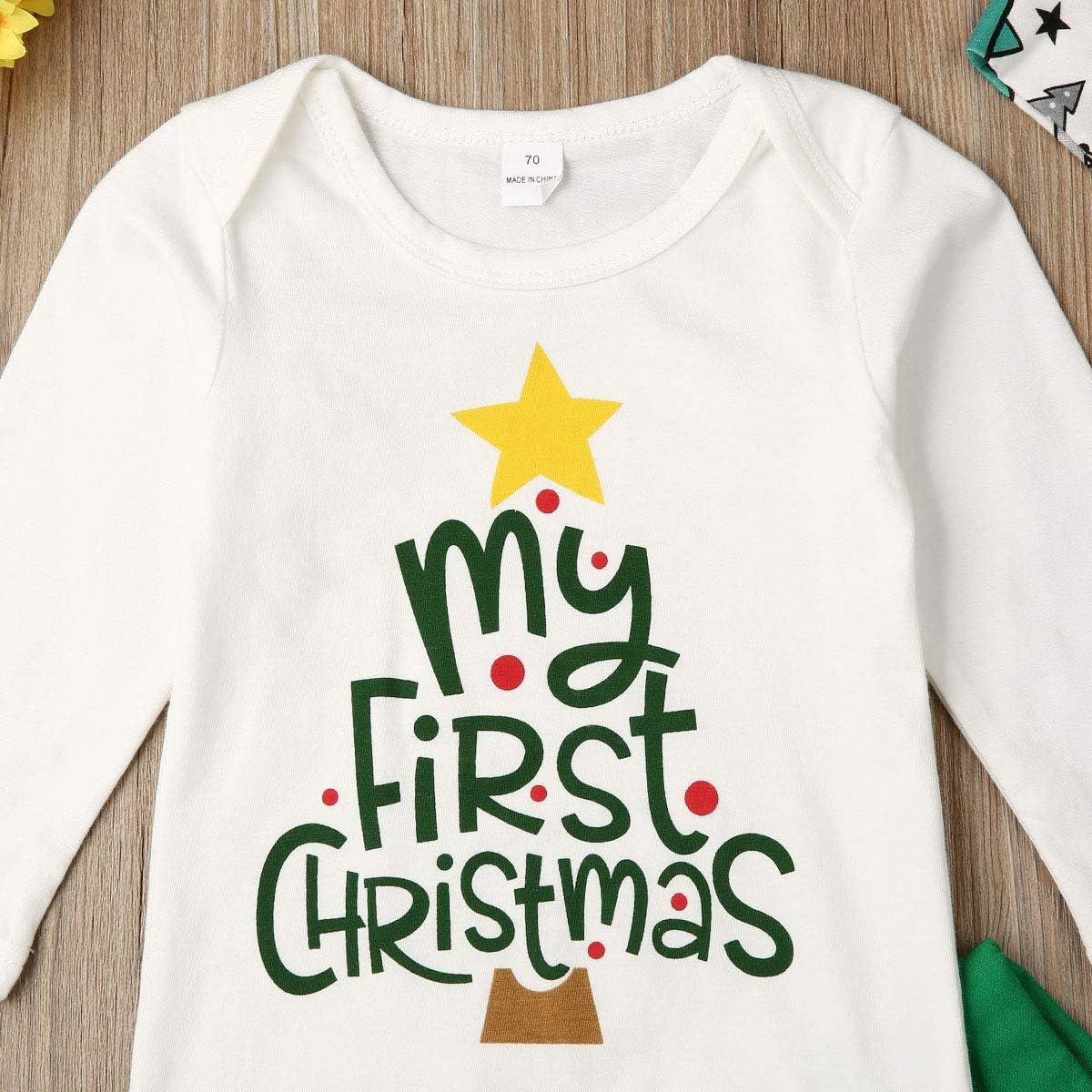3Pcs Newborn Baby Girls Boys My 1st Christmas Romper Bodysuit Long Pants Hat Christmas Outfits Set 0-18M
