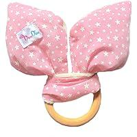 DouDou - Sonaja y Mordedera de madera 2 en 1 - para dentición - orejas de conejo - tela suave color rosa con estrellas blancas para niña