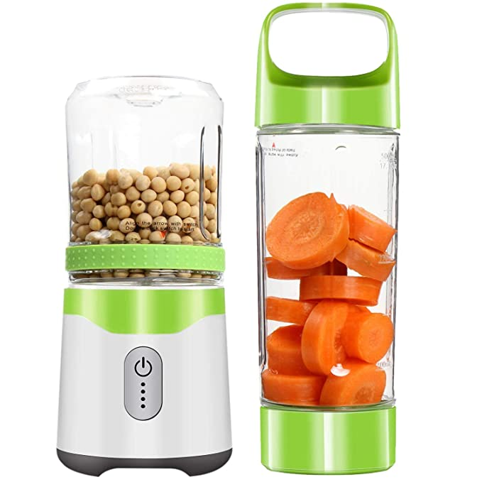 SODIAL Personal Blender,Portable Blender Usb Juice Blender Rechargeable Travel Juice Blender For Shakes And Smoothies Powerful Six Blades For Superb Mixing Ice Fruit.(Green)