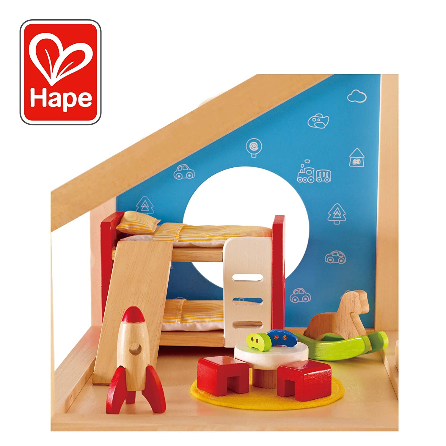 24a71353 Hape Wooden Doll House Furniture Children's Room with Accessories