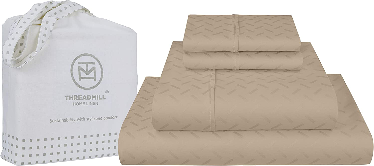 Threadmill Home Linen Twin Sheets - Pure Long Staple Cotton Astra Jacquard Damask Weave, 3 Piece 300 Thread Count Bedsheet Set, Silky Smooth Beige Sheets with Elasticized Deep Pocket