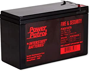 Interstate Batteries 12V 7AH Fire and Security battery, Sealed Lead Acid (SLA) Battery (AGM).187 Faston terminals, (FAS1075)