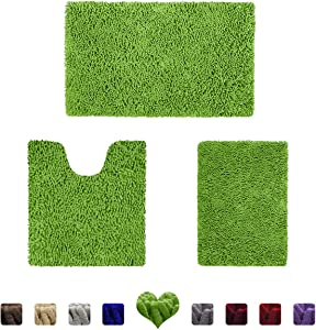 HOMEIDEAS 3 Pieces Bathroom Rugs Set Green, Luxury Soft Chenille Bath Mats Set, Absorbent Shaggy Bath Rugs & Slip Resistant Plush Carpets Mats for Tub, Shower, Bathroom
