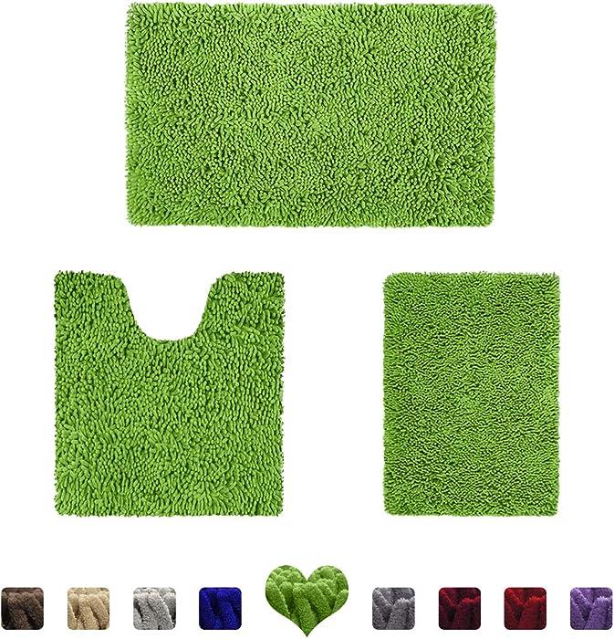 HOMEIDEAS 3 Pieces Bathroom Rugs Set Green, Luxury Soft Chenille Bath Mats Set, Absorbent Shaggy Bath Rugs & Slip Resistant Plush Carpets Mats for Tub, Shower, Bathroom