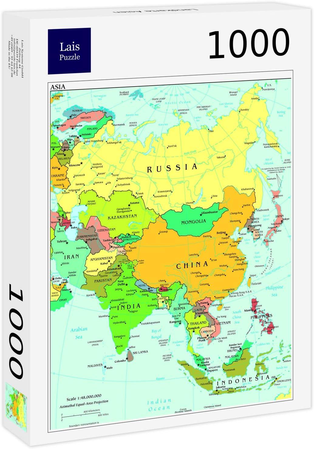 Lais Puzzle Mapa de Asia 1000 Piezas: Amazon.es: Juguetes y juegos