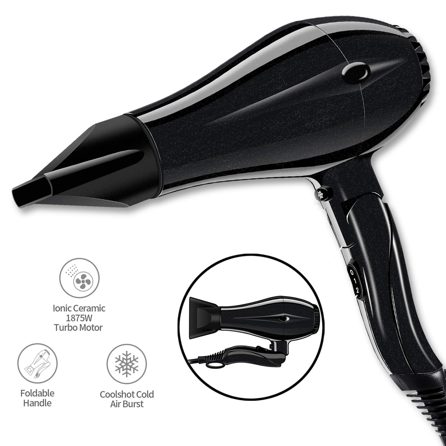 Professional Salon Hair Dryer 1875 Watt Tourmaline Ionic Blow Dryer with 2 Concentrator Nozzles Attachments DC Motor Light Weight Low Noise Black