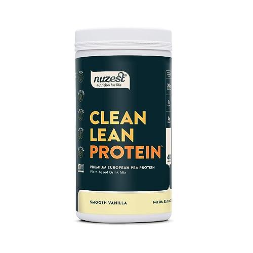 Nuzest Clean Lean Protein – Premium Vegan Protein Powder, Plant Protein Powder, European Golden Pea Protein, Dairy Free, Gluten Free, GMO Free, Naturally Sweetened, Smooth Vanilla, 40 Servings, 2.2 lb