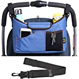 AMZNEVO Best Universal Baby Jogger Stroller Organiser Bag/Buggy Parent Console with Shoulder Strap, Two Cup Holders. Extra Storage Space for The Pram Accessories (Blue)