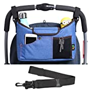 AMZNEVO Best Universal Baby Jogger Stroller Organizer Bag/Diaper Bag with Shoulder Strap and Two Deep Cup Holders. Extra Storage Space for Organize The Baby Accessories and Your Phones. (Blue)