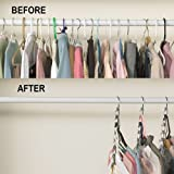 MARCHY Metal Clothes Hangers Clothing Organiser Wardrobe Space Save and organization- 4 Packs (6 Packs)