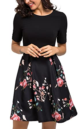 029f1f91fe1f3 Sviuse Women's Vintage Patchwork Pockets Puffy Swing Casual Floral Evening  A-line Cocktail Party Dress